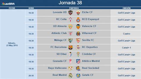 Modificación de horarios de la jornada 38 de la Liga BBVA ...
