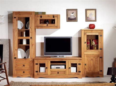 Modular rústico para TV compuesto por tres muebles ...