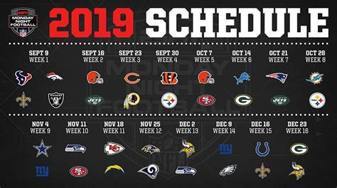Monday Night Football Schedule 2019