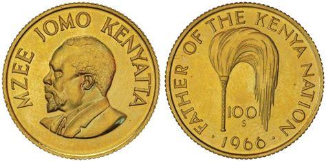 Moneda 100 Shilling Kenia Oro 1966 Jomo Kenyatta precio KM 7
