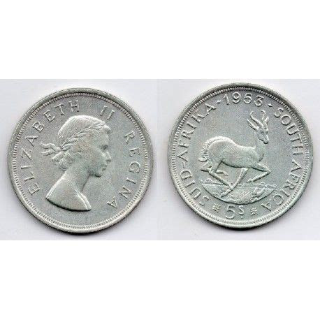 Moneda 1953 Sud Africa 5 chelines   Moneda plata   Monedas ...