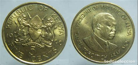 moneda de kenia 5 cents 1990   Comprar Monedas antiguas de ...