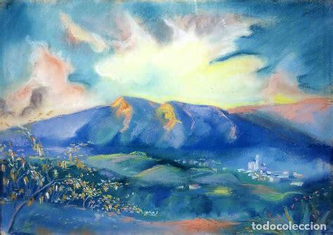montañas al amanecer. dibujo pastel sobre papel   Comprar ...