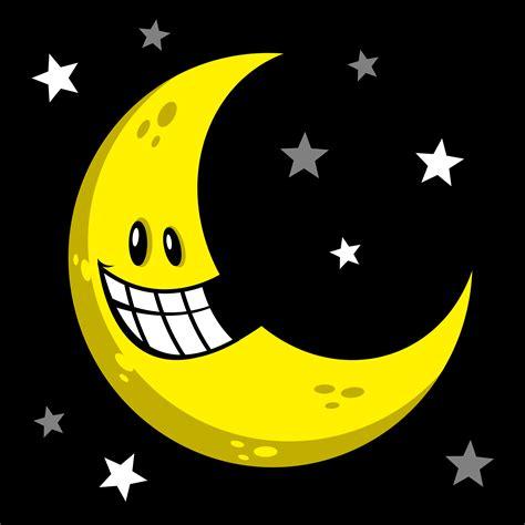 Moon smiling cartoon vector illustration   Download Free ...