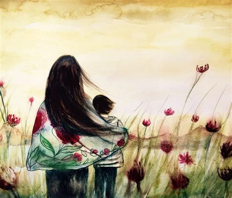 Mother and son mountain view..claudia tremblay watercolor ...