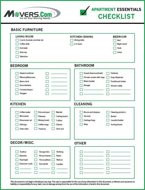 Movers.com   Apartment Essentials Move In Checklist ...