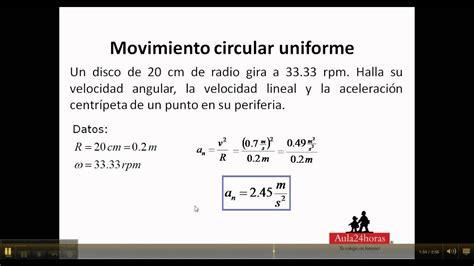 Movimiento circular uniforme, ejercicio   YouTube