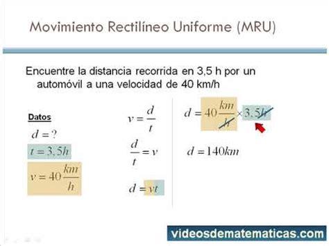 Movimiento rectilineo uniforme calcular distancia   YouTube