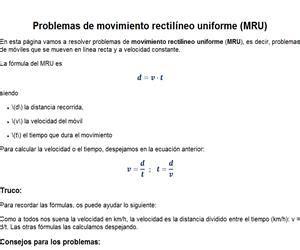 Movimiento Rectilíneo Uniforme  Problemas    Didactalia ...