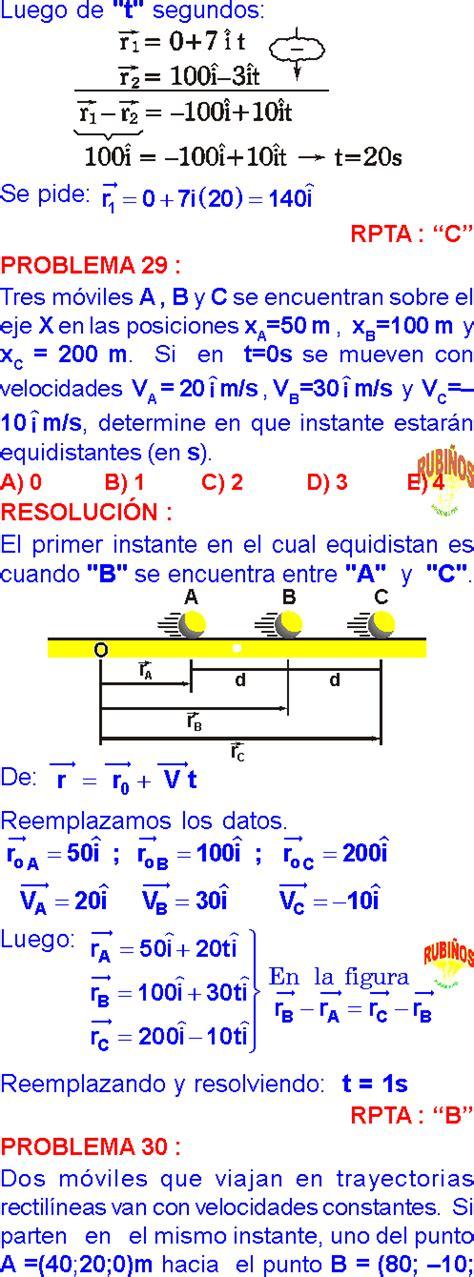 MOVIMIENTO RECTILÍNEO UNIFORME PROBLEMAS RESUELTOS PDF