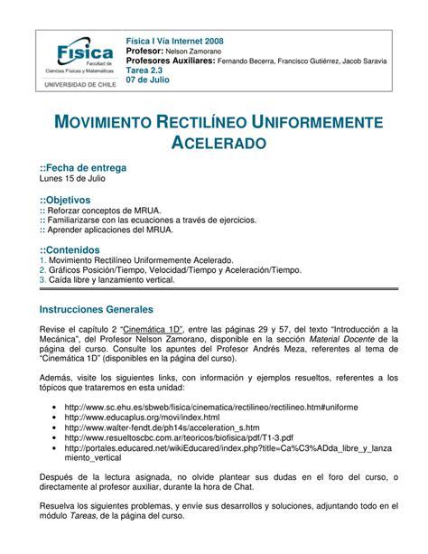 MOVIMIENTO RECTILÍNEO UNIFORMEMENTE   U