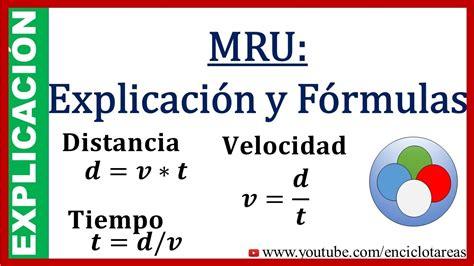 MRU Explicación y Fórmulas  subtitulado    YouTube