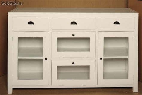 Mueble aparador con vitrinas madera blanco baratos