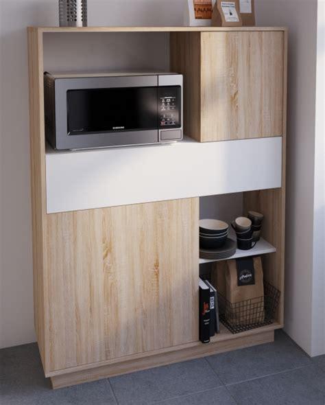 Mueble Armario Microondas Cocina Color Roble Y Blanco ...