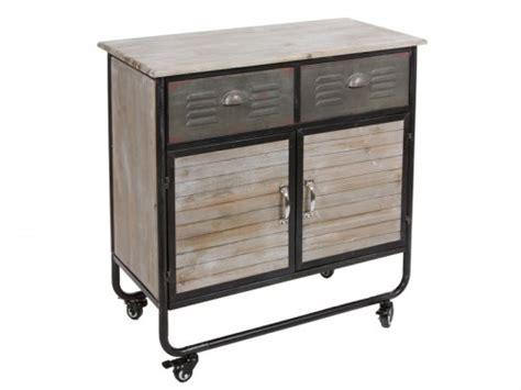 Mueble auxiliar industrial con ruedas, 2 puertas y 2 cajones