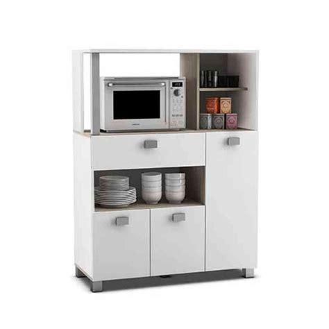 Mueble auxiliar microondas 3 puertas Blanco   KitMuebles.com