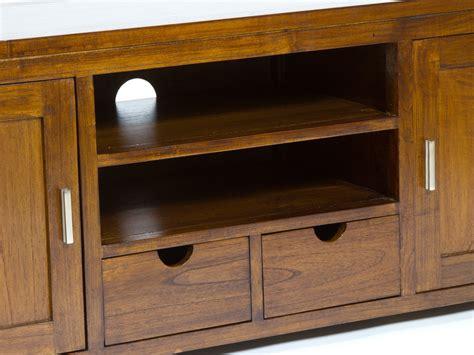Mueble bajo para TV de madera con 2 puertas estilo rústico