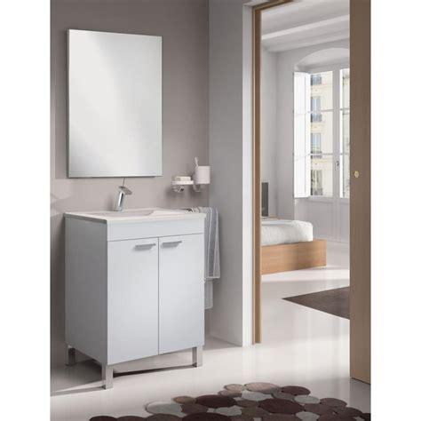 Mueble Baño 2 Puertas LCD + Lavabo + Espejo en Blanco ...