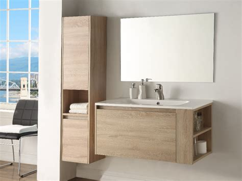 Mueble baño bajo lavabo + columna   BEHATI   Efecto madera