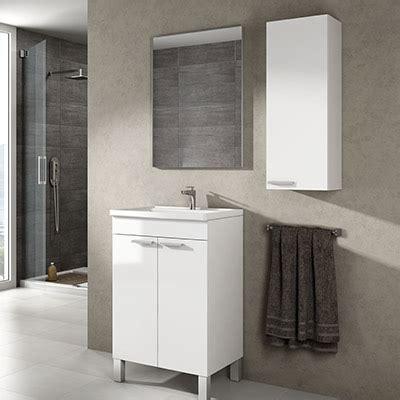 Mueble Baño de 50 cm. con espejo y columna suspendida ...