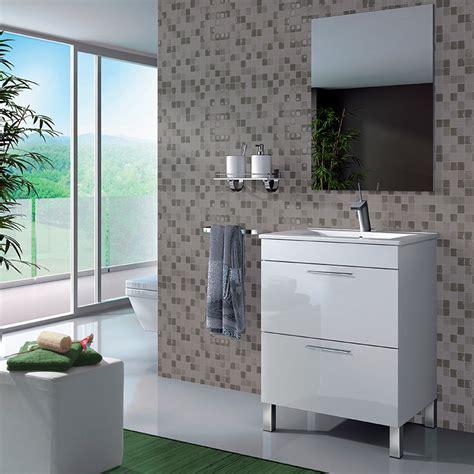 Mueble Baño de 60 cm. con Espejo y Lavabo lacado en color ...