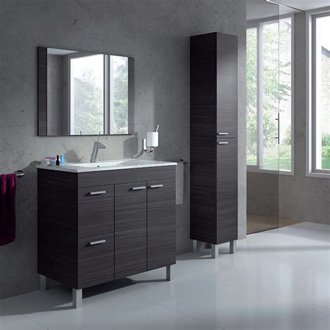 Mueble Baño de 80 cm. con Columna de baño, Espejo y lavabo ...