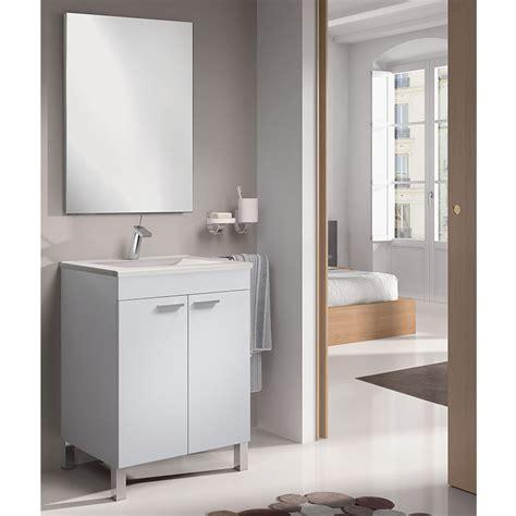 Mueble Baño dos puertas de 60 cm. con espejo blanco brillo