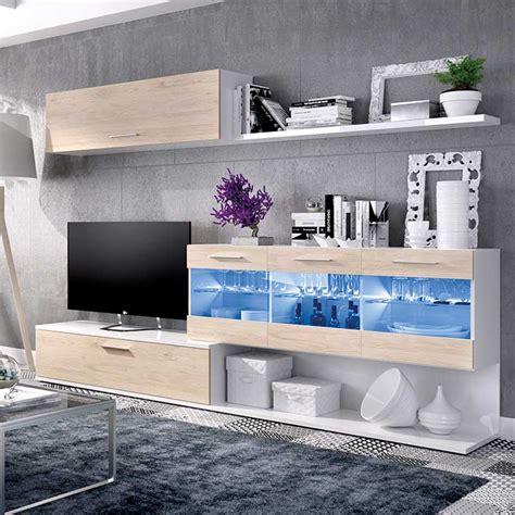 Mueble Comedor Salón de 260 cm. con leds blanco brillo y ...