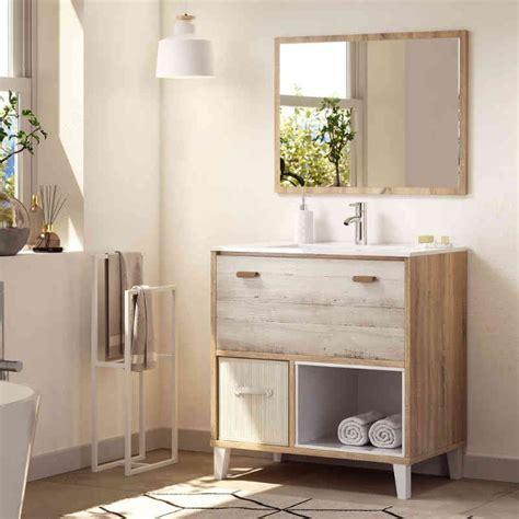 Mueble de baño con lavabo y espejo Cambrian pino ...