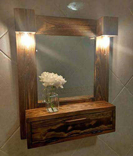 Mueble de baño, tocador con luces de madera reciclada de ...