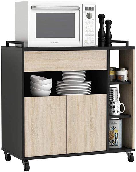 Mueble de cocina auxiliar microondas negro y roble   Tu ...