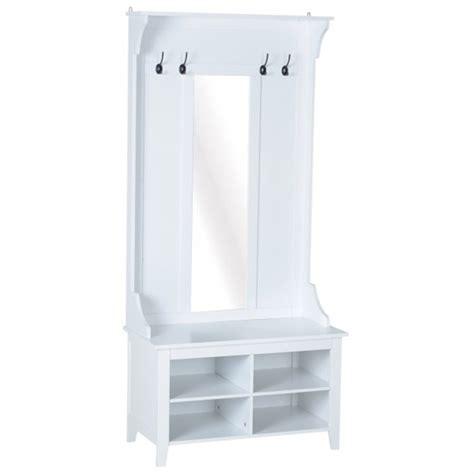 Mueble de recibidor con perchero y espejo blanco HomCom ...