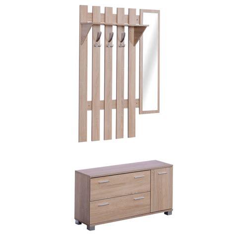 Mueble de recibidor con perchero y espejo HomCom 837 021AK ...