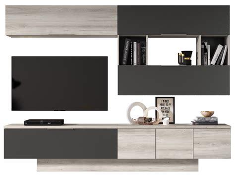 Mueble de salón ÁTIKA Roble nórdico y gris pizarra   Conforama