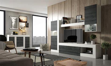 Mueble de salón BOLONIA Blanco y negro   Conforama