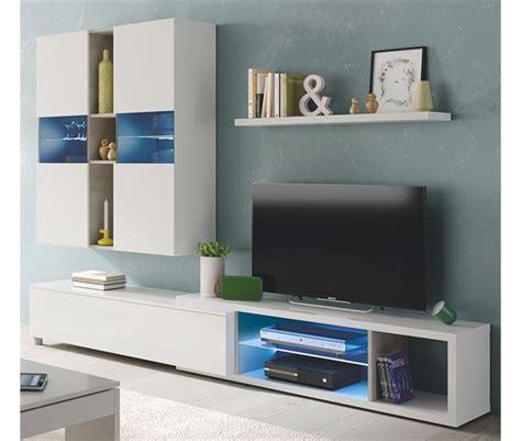 Mueble de salón BYTE Blanco y cemento   Conforama