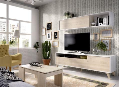 Mueble De Salon Nordico En Natural Y Blanco Brillo | Las ...