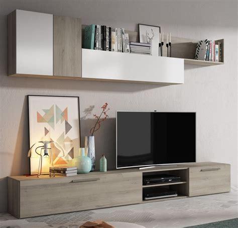 Mueble de salón TORONTO Roble y blanco brillo   Conforama