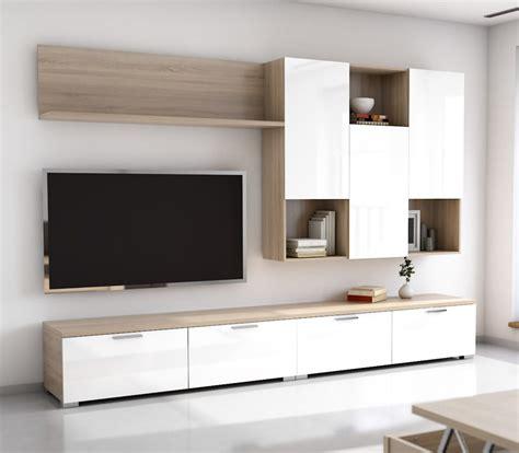 Mueble de Salón TV roble aserrado y blanco brillo