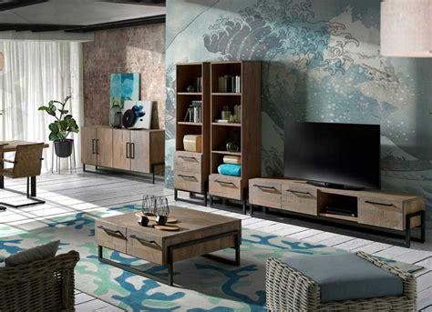 Mueble de Televisión Rústico Industrial Roble 200 ...