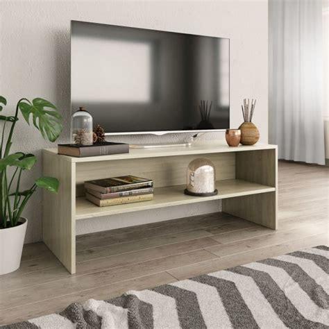 Mueble de TV aglomerado color roble Sonoma 100x40x40 cm ...