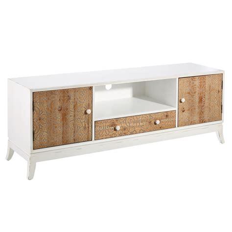 Mueble De Tv blanco de madera de 1 cajón y 2 puertas ...