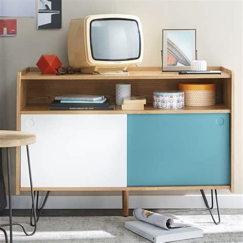 Mueble de TV vintage blanco y azul de madera An. 105 cm ...