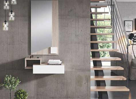 Mueble entrada recibidor pequeño color roble y blanco