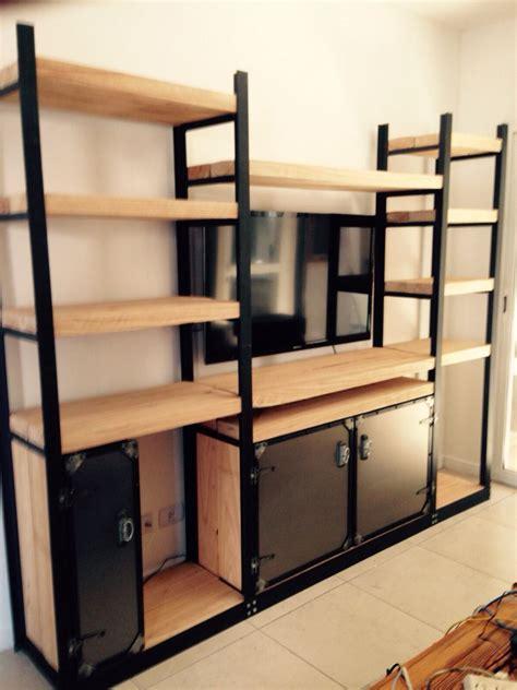 Mueble hierro y madera con estilo industial/rustico ...