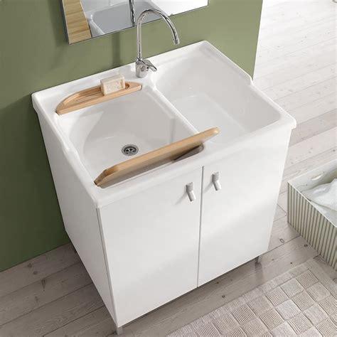 Mueble lavadero con doble fregadero en acrílico | IDFdesign