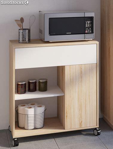 Mueble microondas cocina ruedas bufe color roble y blanco ...