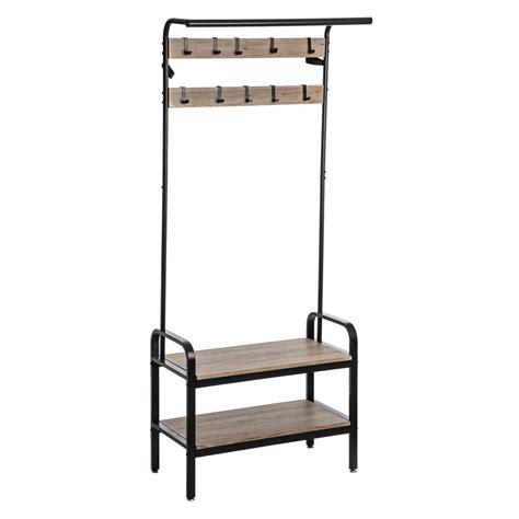 Mueble para entrada con perchero hierro y madera   devotoweb