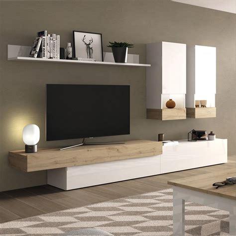 Mueble para SALON MODERNO BLANCO BRILLO + ROBLE SALONES  50%