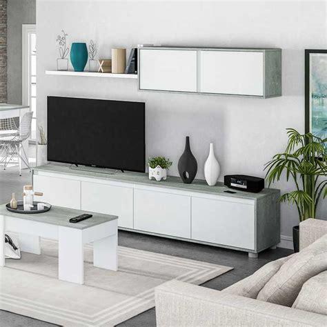 Mueble para Salón TV color blanco Artic y Cemento